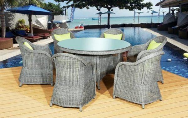 Pinti lauko baldai, pietų stalas, foteliai, apvalus stalas