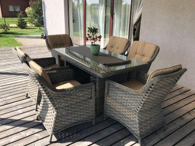 Pintų lauko baldų, pietų komplektas, foteliai