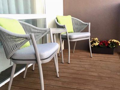 Aliuminio lauko baldai Švelnumas, balkono baldai