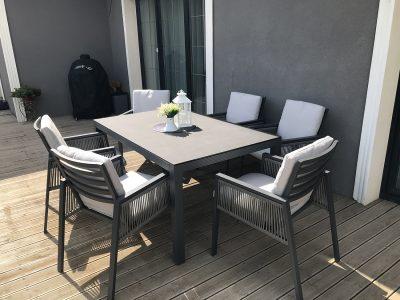 pietu baldai, lauko baldai, terasos baldai, pietu stalas, foteliai